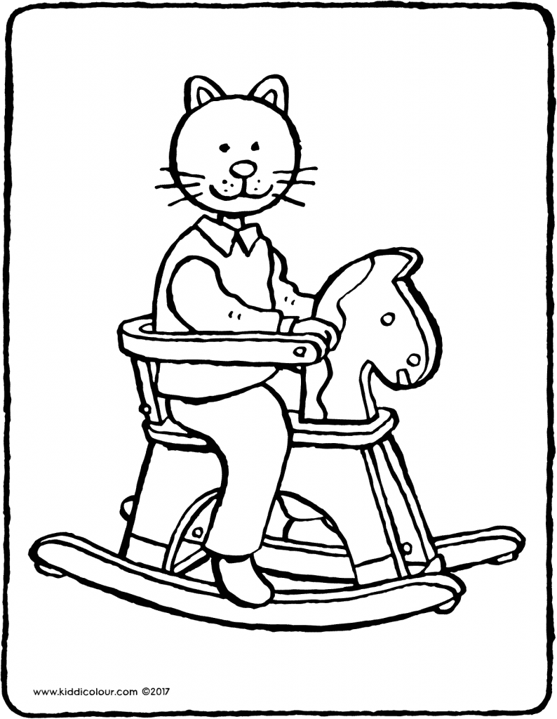 rocking horse colouring page drawing picture 01V