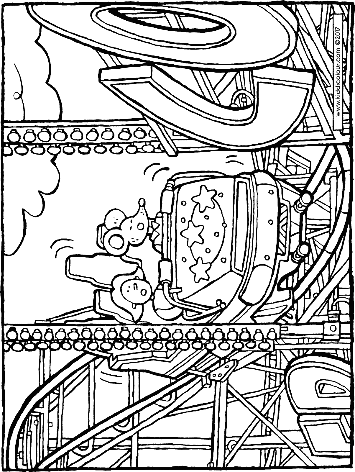 rollercoaster at the fair colouring page drawing picture 01H