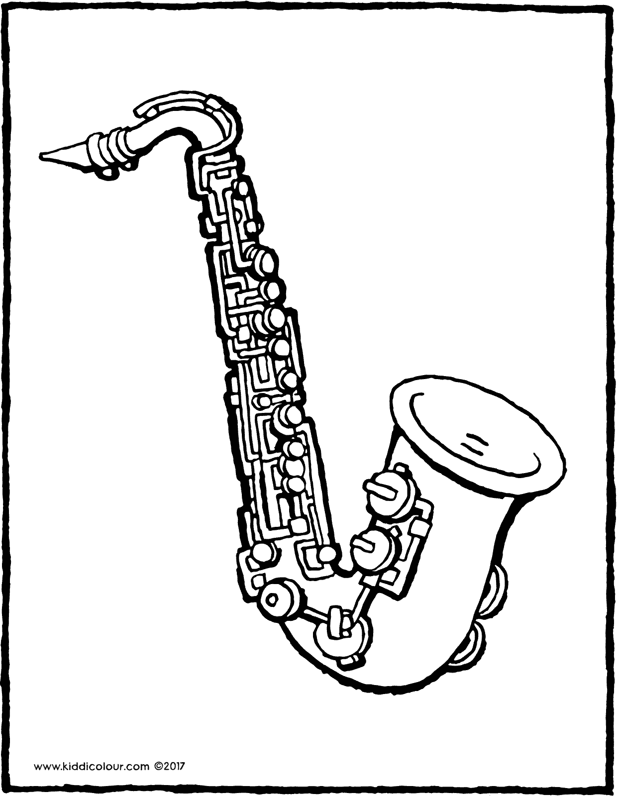 saxophone colouring page drawing picture 01V