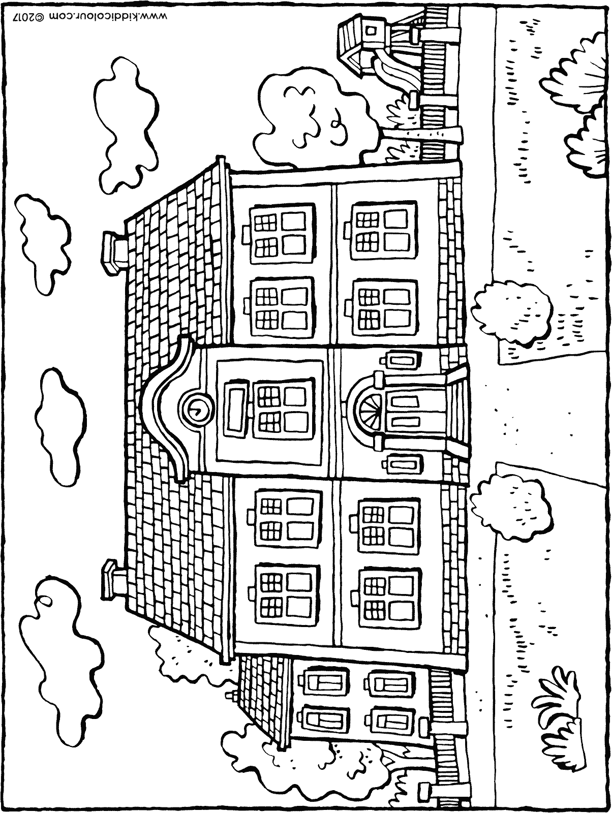 school building colouring page drawing picture 01H