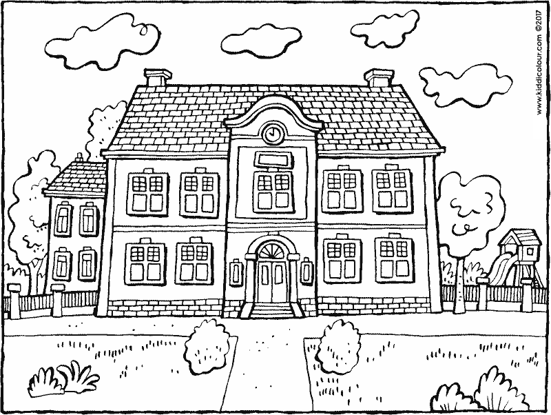 school building colouring page drawing picture 01k