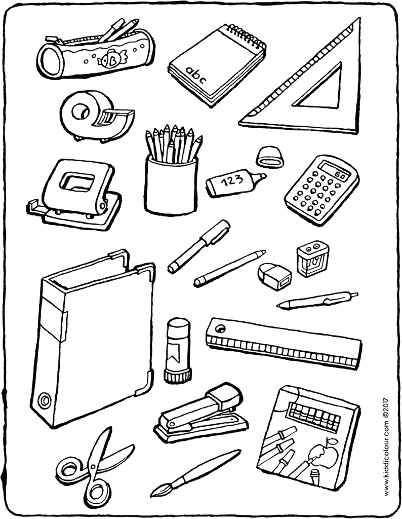 school equipment colouring page drawing picture 01V