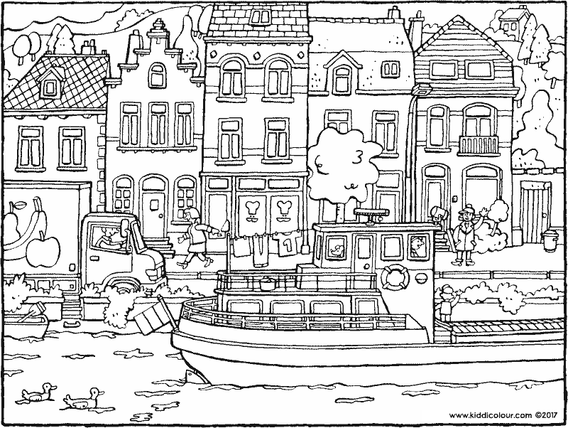 ship sailing past houses colouring page drawing picture 01k