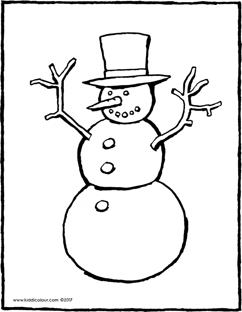 snowman colouring page drawing picture 01V