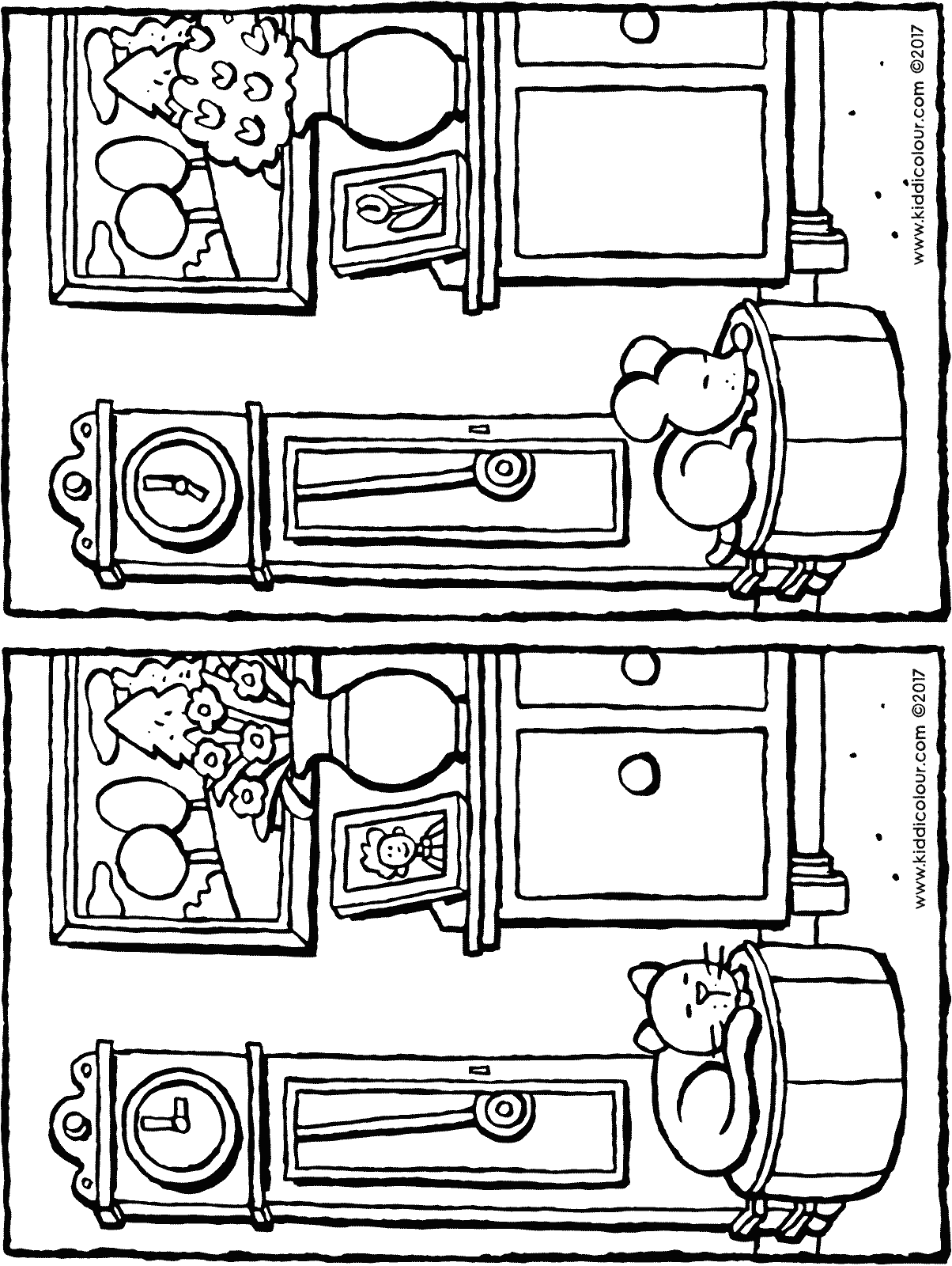 spot the 5 differences colouring page drawing picture 01H