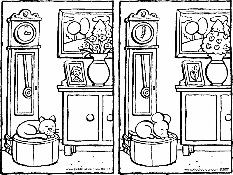 spot the 5 differences colouring page drawing picture 01k