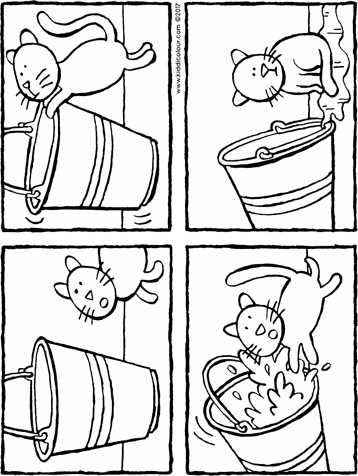 story bucket and cat colouring page drawing picture 01H
