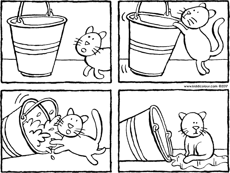 story bucket and cat colouring page drawing picture 01k