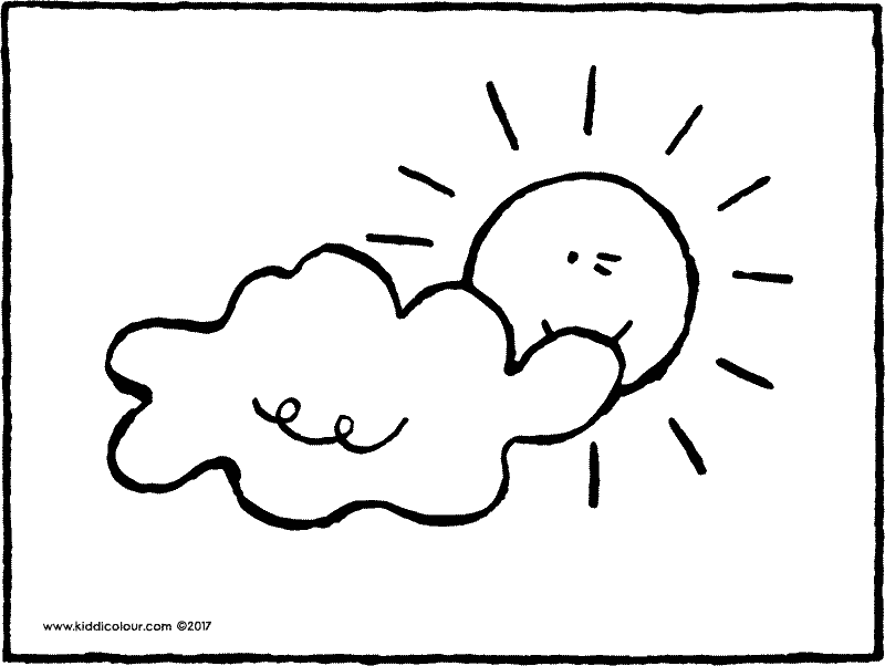 sun behind the clouds colouring page drawing picture drawing picture 01k
