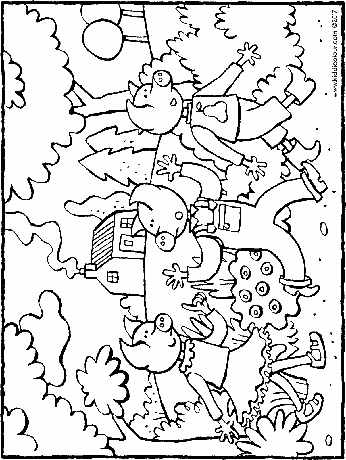 the three little pigs in the woods colouring page drawing picture 01H