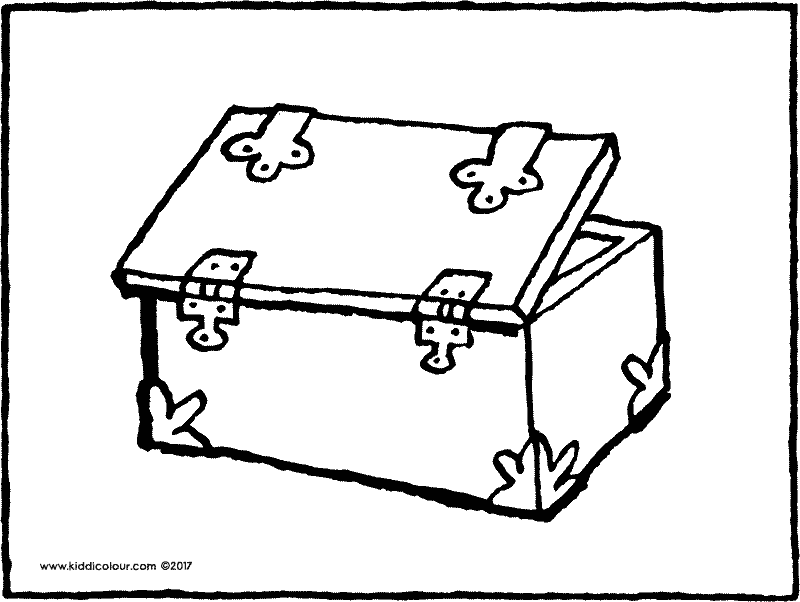 treasure chest colouring page drawing picture 02k