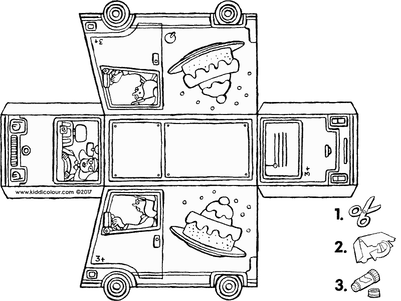 van craft colouring page drawing picture 01k