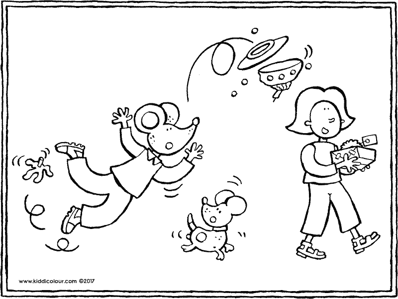 Emma And Thomas Birthday With Cake Coloring Page 01k