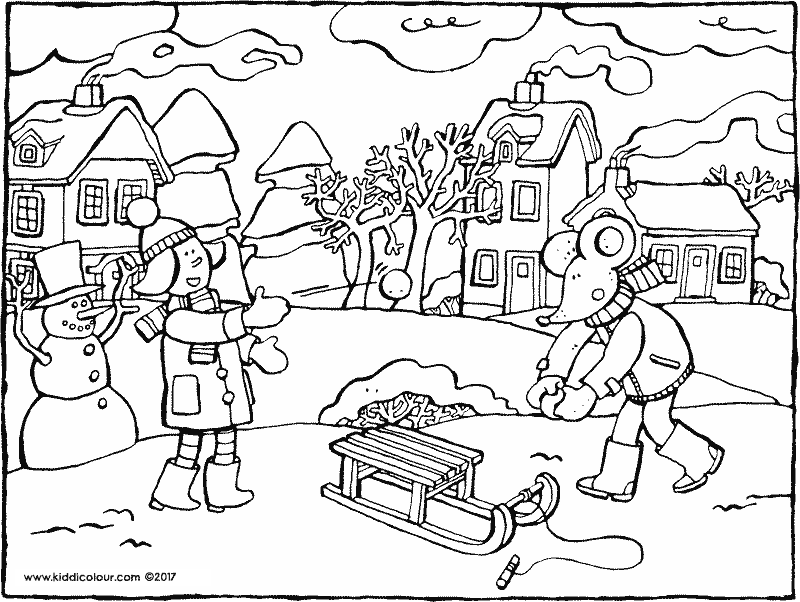 Emma and Thomas in the snow coloring page 01k