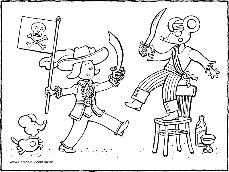 Emma and Thomas play pirates colouring page 01k