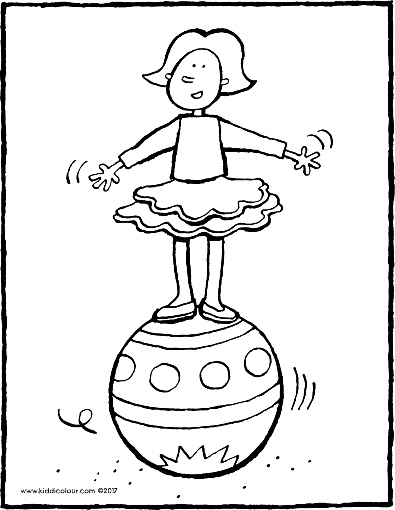 Emma balancing on a ball colouring page 01V