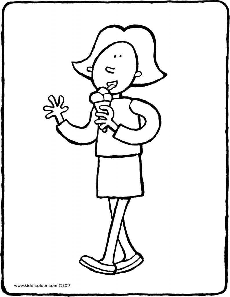 Emma eating an ice-cream colouring page 01V