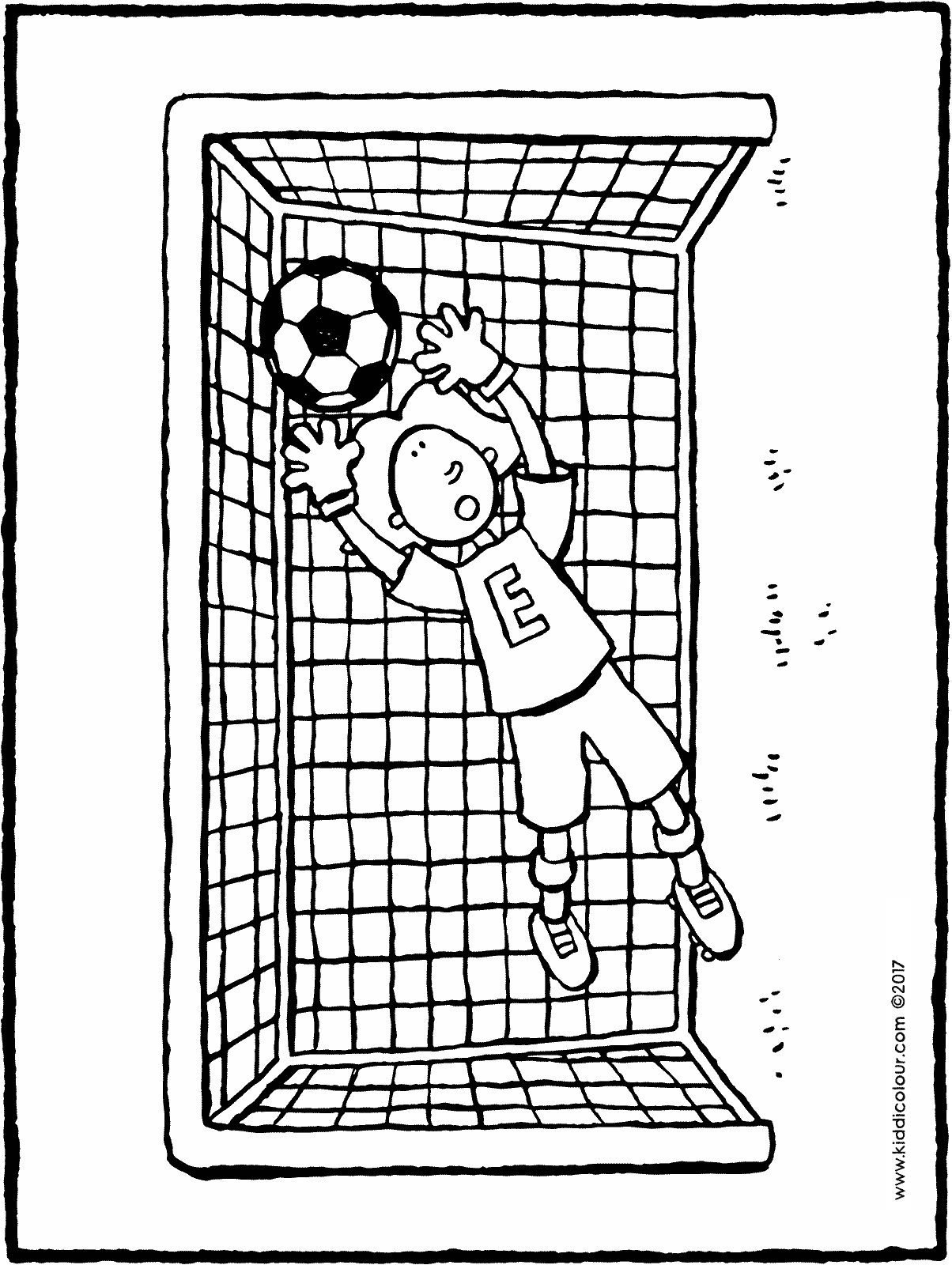 Emma in goal colouring page 01H