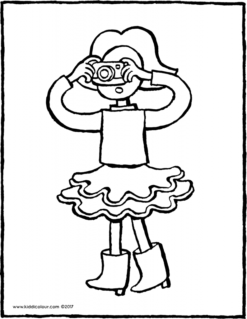 Emma with camera colouring page 01V