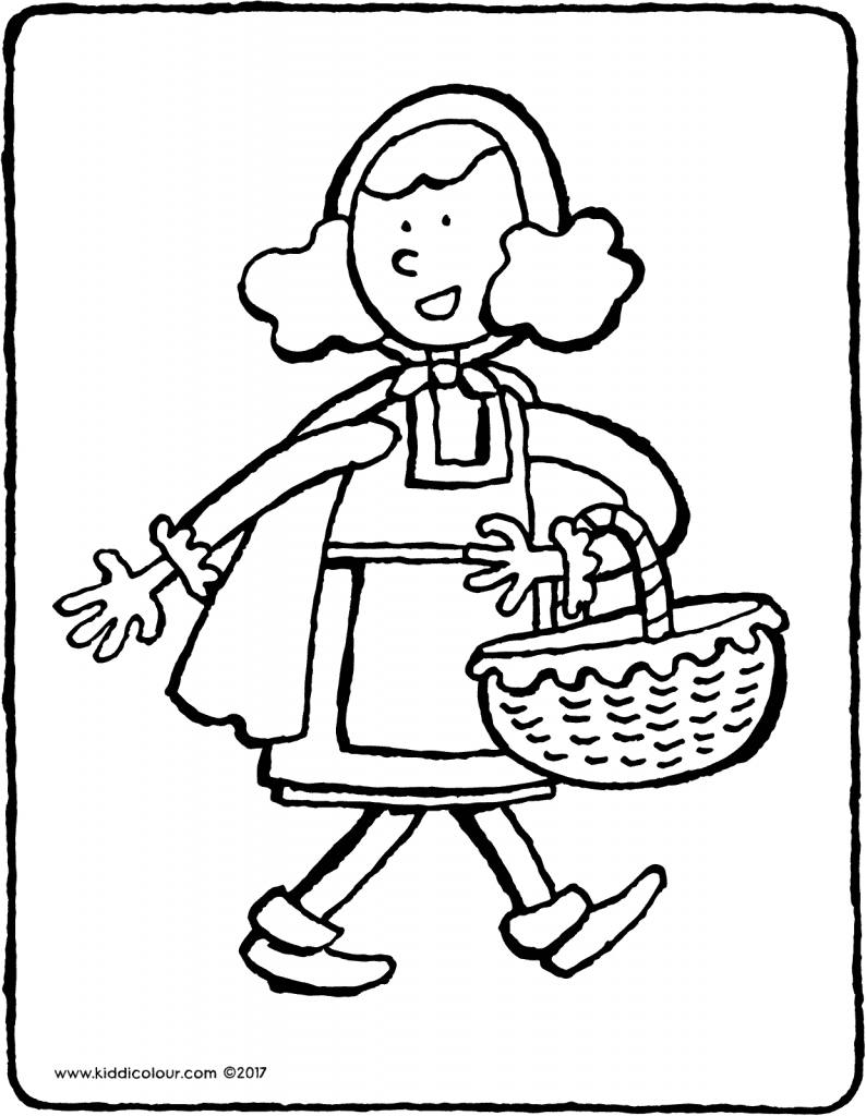 Little Red Riding Hood with basket colouring page 01V