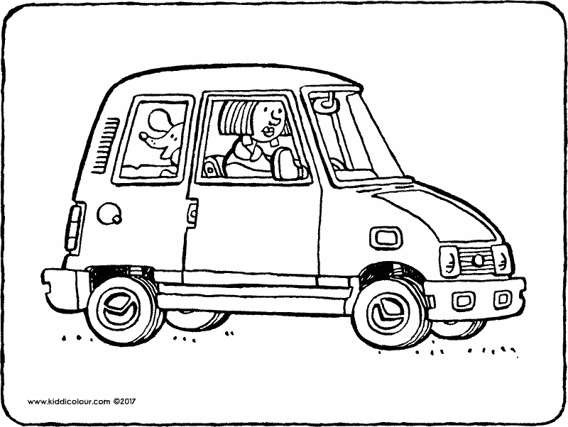 a dog in a car coloring page 01k