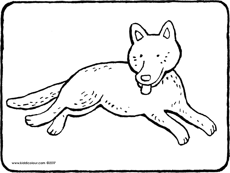 dog having a rest coloring page 01k