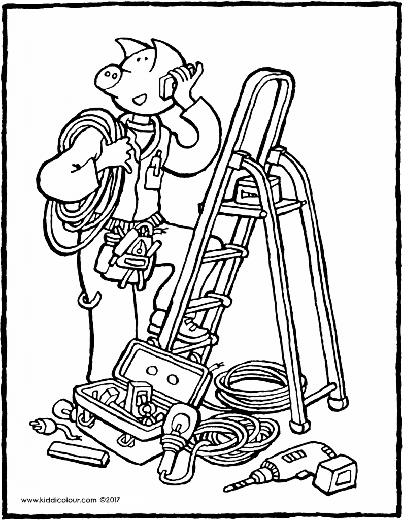 electrician colouring page 01V