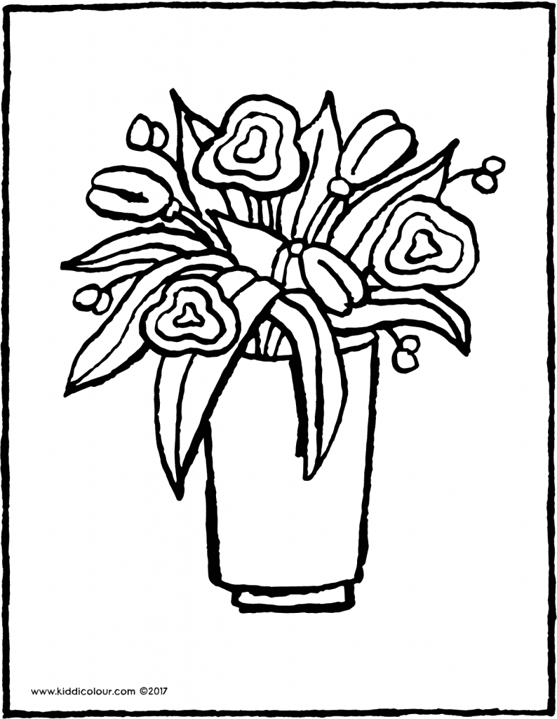 flowers in a vase colouring page 01V