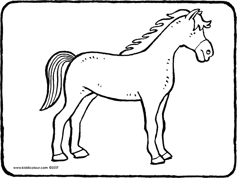 horse colouring page 02k
