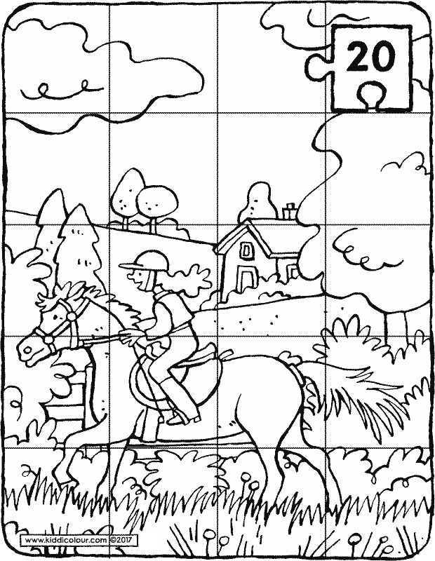 horse riding puzzle colouring page p20k