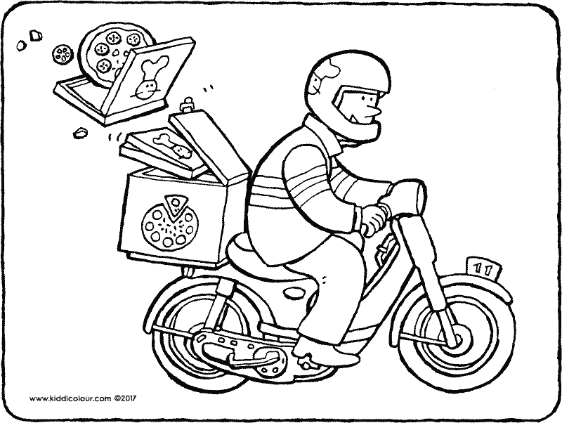 pizza courier coloring page 01k