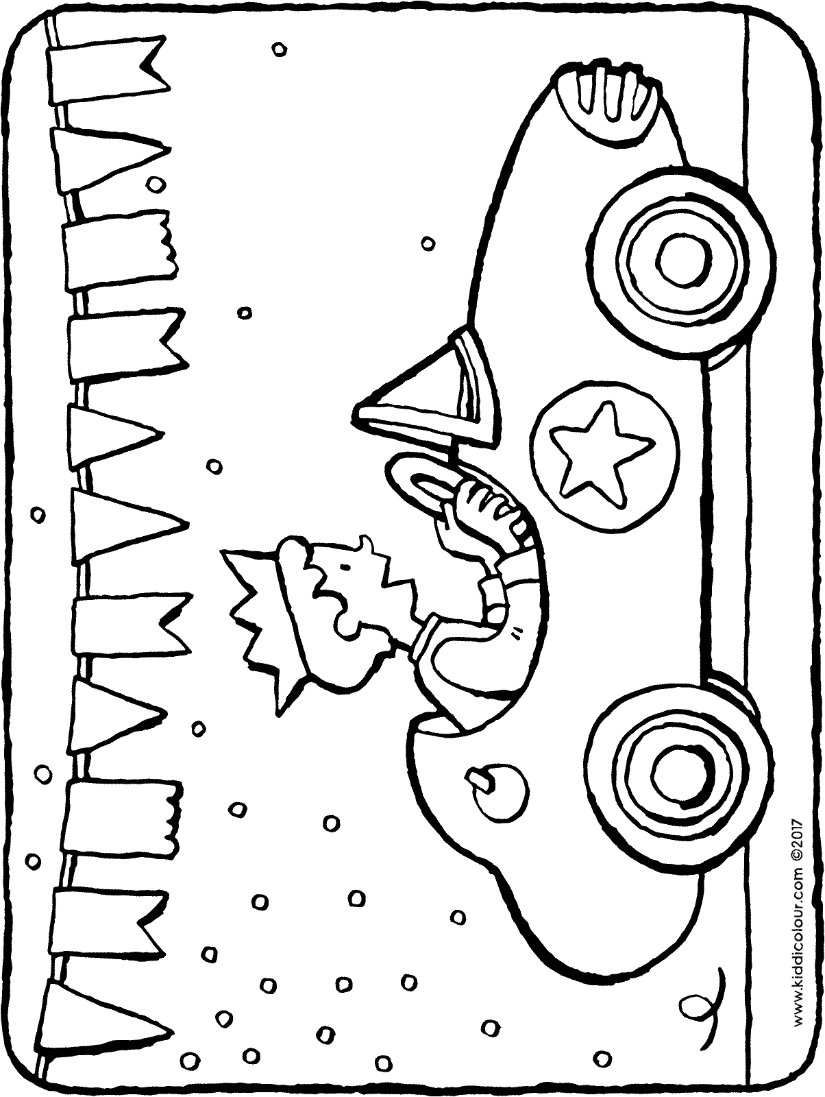 racing car birthday celebration colouring page 01H
