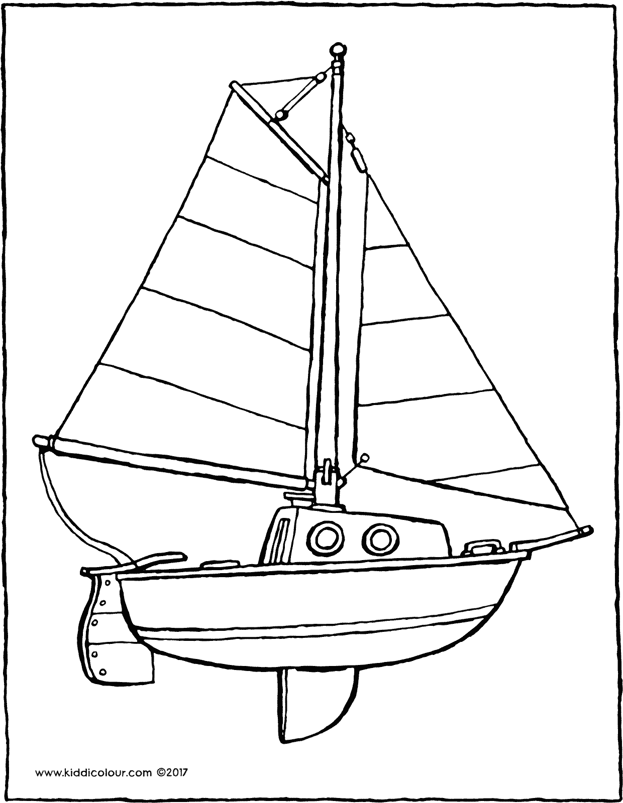 sailboat colouring page 01V