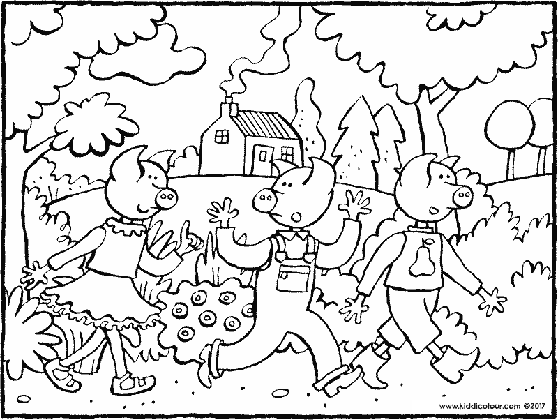 the three little pigs in the woods coloring page 01k