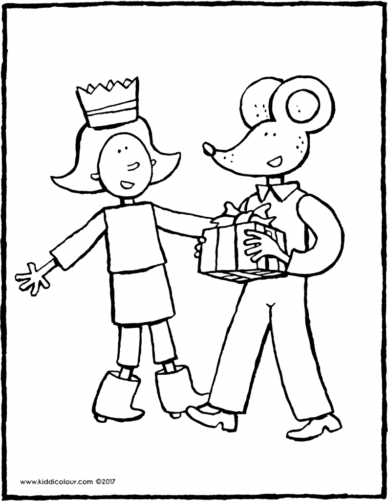 Thomas gives Emma a present colouring page page drawing picture 01V