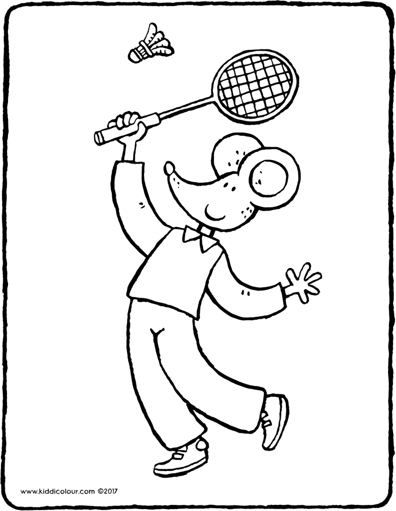 Thomas playing badminton colouring page page drawing picture 01V