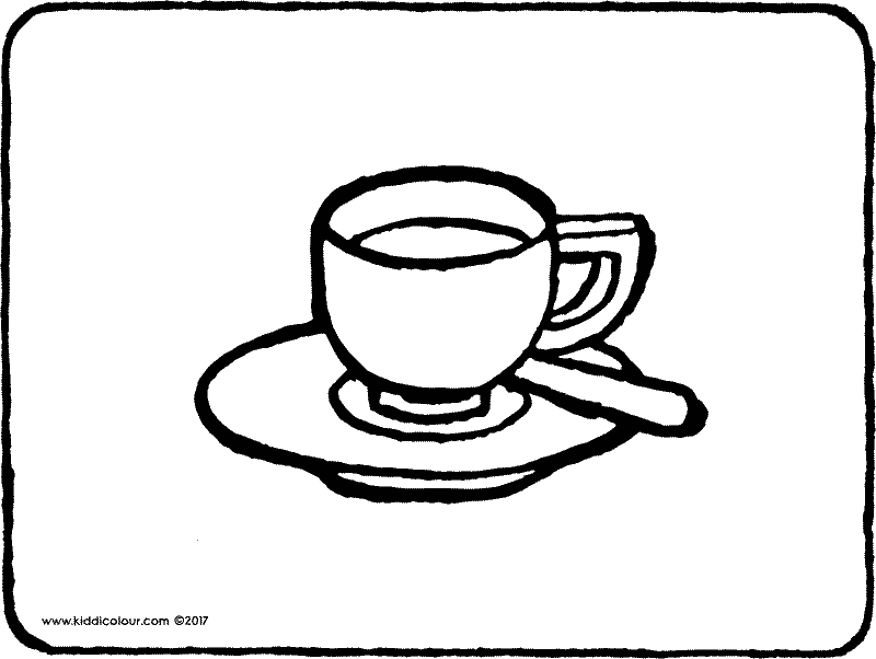 a cup and saucer colouring page page drawing picture 01k