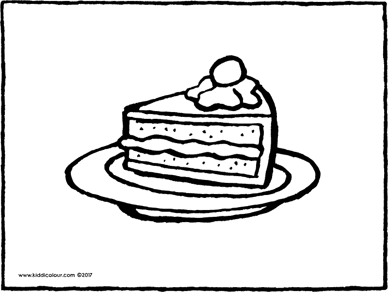 a piece of cake colouring page page drawing picture 01k