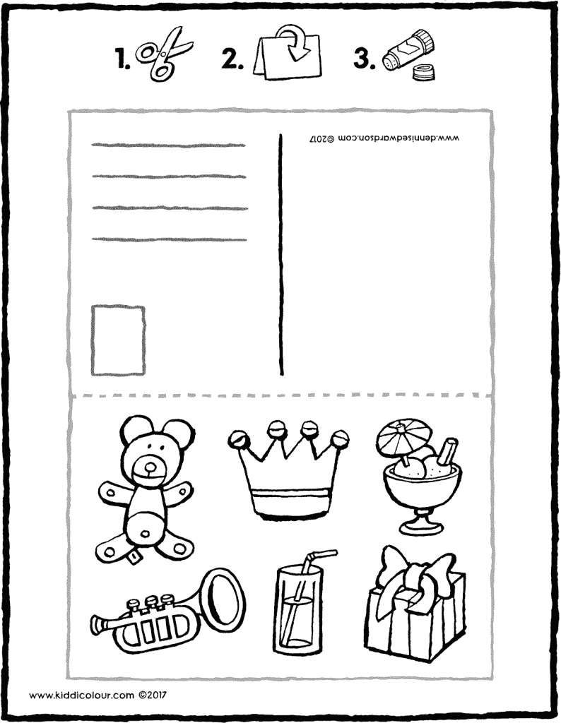 birthday postcard craft colouring page page drawing picture 01V