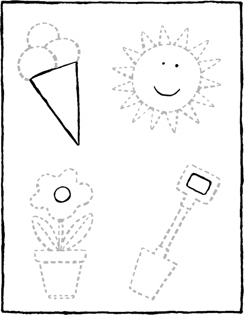 drawing along the dotted lines colouring page page drawing picture 01V