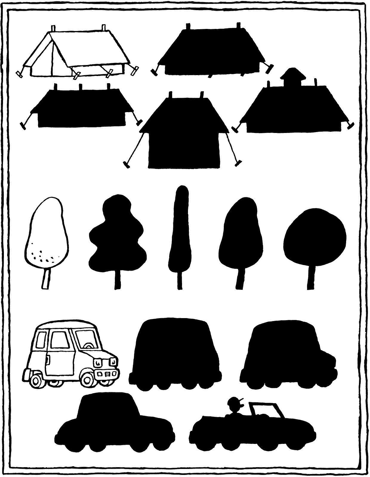 find the matching shadow colouring page drawing picture 01V