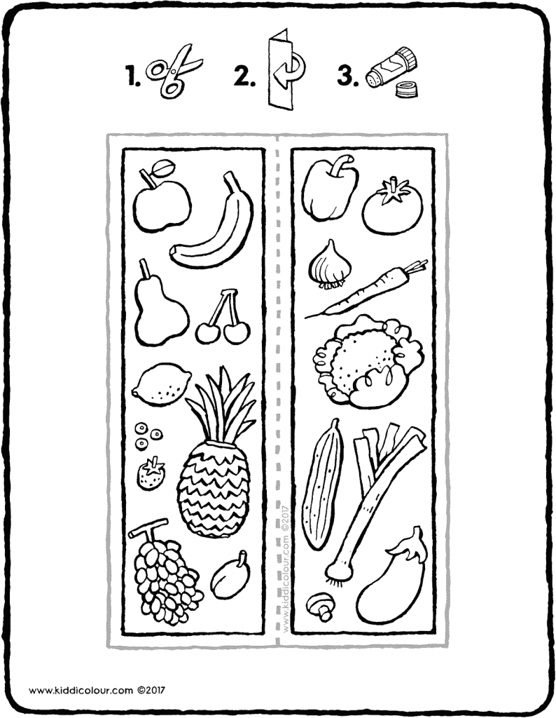 fruit and vegetable bookmark craft colouring page page drawing picture 01V