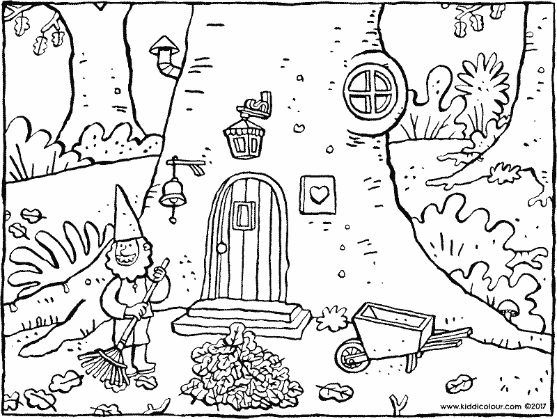 gnome raking leaves colouring page page drawing picture 01k