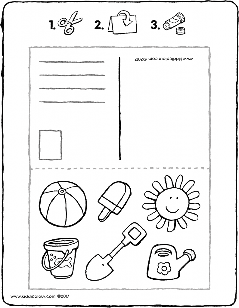 holiday postcard crafts colouring page page drawing picture 01V