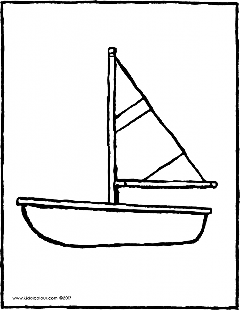 little sailing boat colouring page page drawing picture 01V