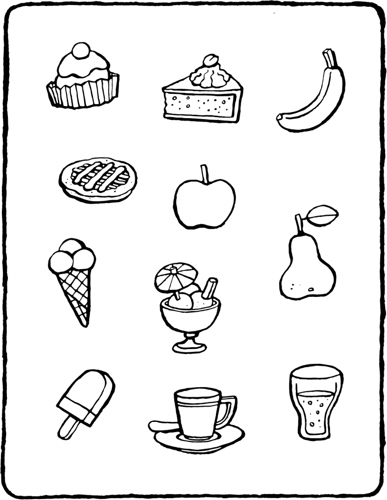make collections of food math game colouring page page drawing picture 01V