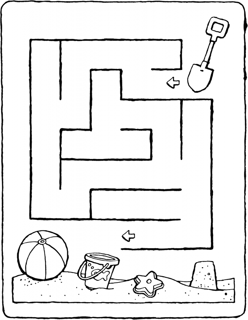 maze in the sand colouring page 01V