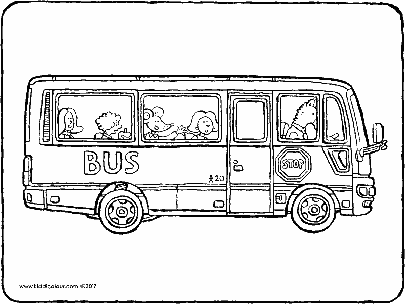 school bus colouring page 01k