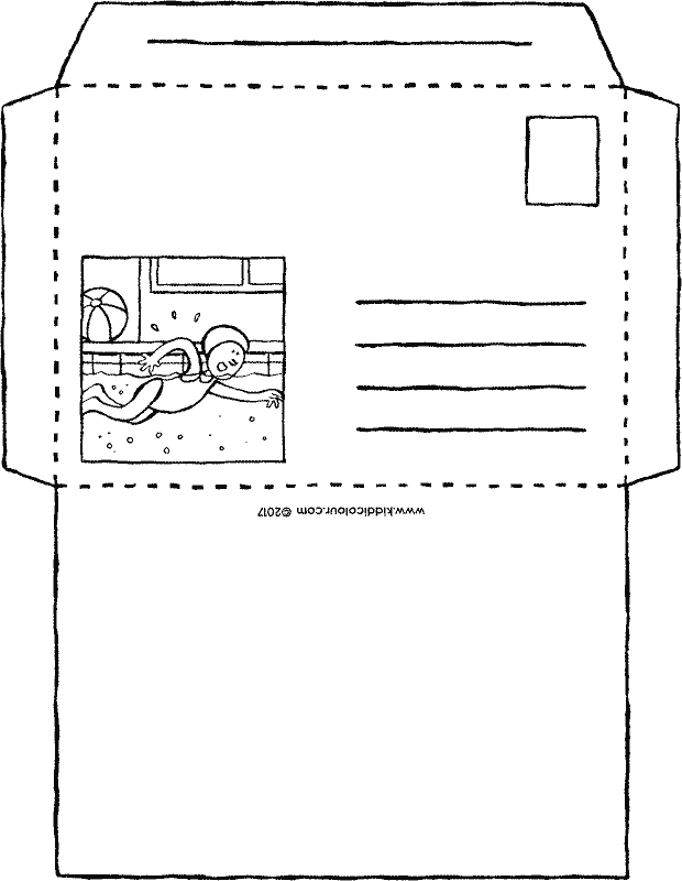 swimming envelope craft colouring page page drawing picture 01k