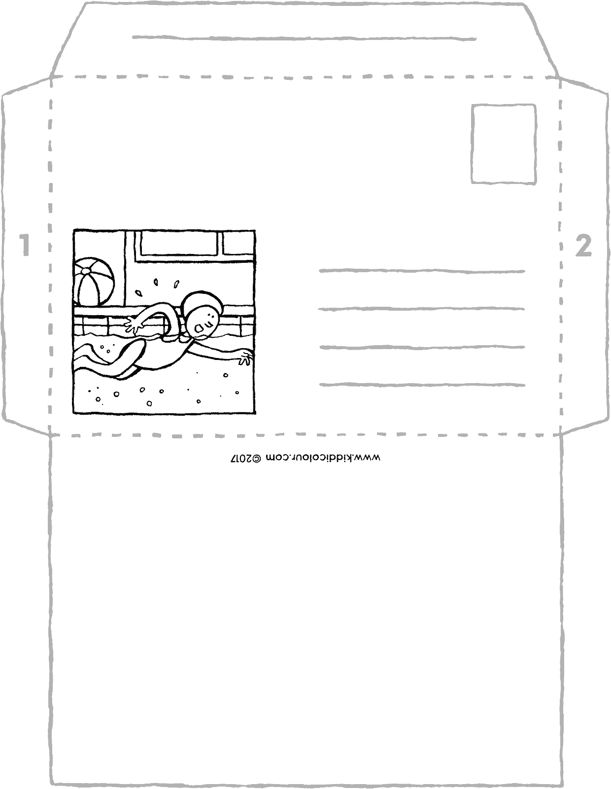 swimming envelope crafts colouring page page drawing picture 01V